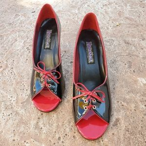 Pleaser Funtasma Red Black Corset Peeptoe Heels 12